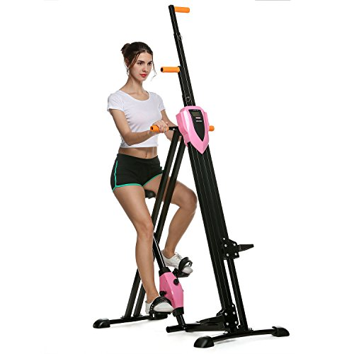 ANCHEER Vertical Climber 2 In 1 Folding Exercise Climbing Machine Full Total Body Workout Fitness Stepper (Pink)