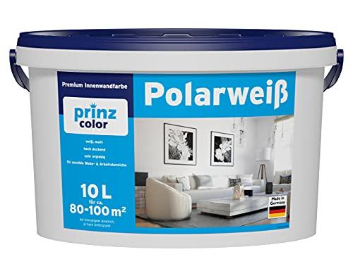 prinzcolor Premium Polarweiss Innenfarbe Wandfarbe Deckenfarbe Profi Farbe Weiß 10l