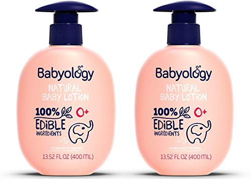 Babyology Organic Baby Lotion  100% Edible Ingredients  2x135 FL OZ  The Safest All Natural Baby Moisturizer for Newborn Dry and Sensitive Skin  Non toxic  Eczema Pack of 2