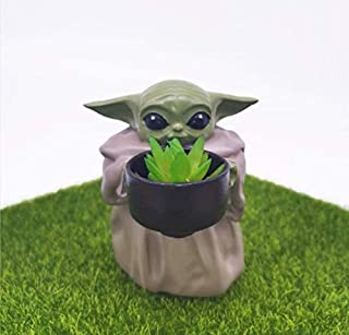 Ubrand Baby Yoda Planter Pot,4.2inch''The Child Holding Cup'' Creative Resin Ornament Flower Pot with Hole Christmas Birth...