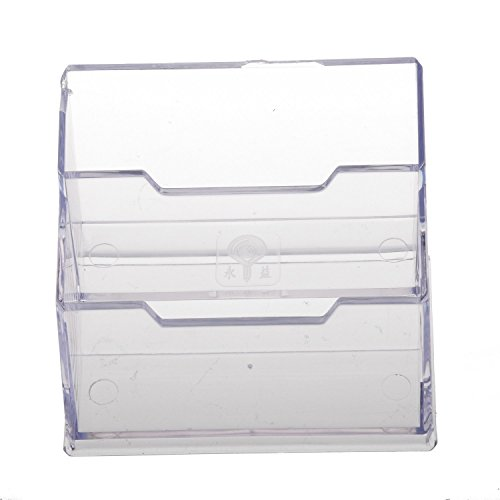 Office Business Card Holder Desktop Display Stand 2-Compartment