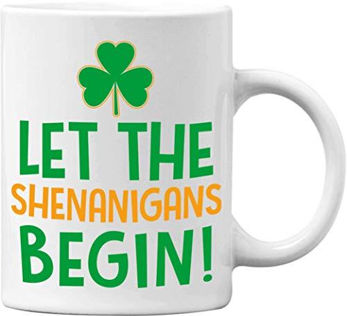 Shamrock Let The Shenanigans Begin St. Patrick's Day - Taza de café (325 ml), color blanco
