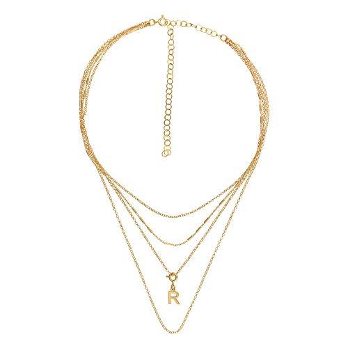 Córdoba Jewels halsketting van 925 sterling zilver, verguld met gouden ketting