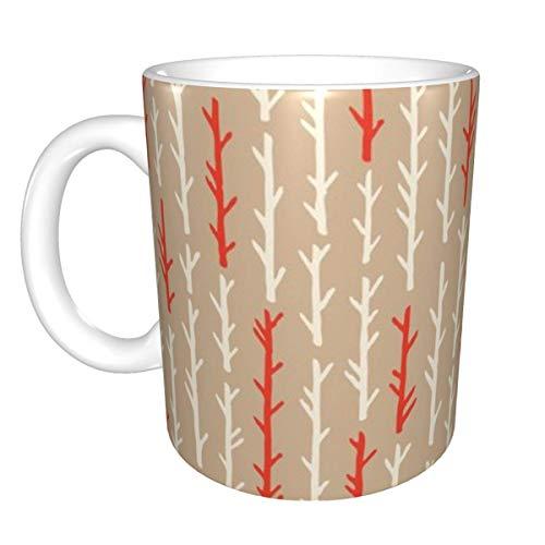 Birkenrinde Bäume Creme und rote Stämme Keramikbecher, Kaffeetasse Teetasse Bierbecher für Büro- und Heimkapazität