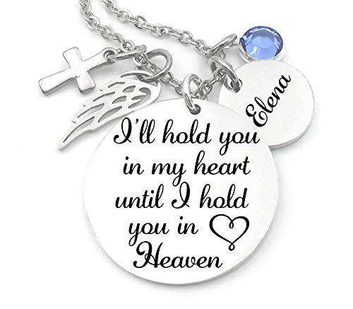 Memorial Jewelry, Stainless Steel Pendant, Necklace,I'll Hold You In My Heart Until I Hold You In Heaven, Child loss, Lose of Loved One