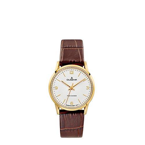Dugena Damen Funk-Armbanduhr, Saphirglas, Lederarmband, Edelstahlgehäuse, Momentum, Gold/Braun, 4460855