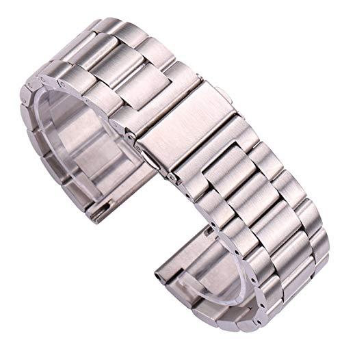 ZZDH Correas Relojes Acero Inoxidable Banda de Reloj de Acero Inoxidable 18 20 22 24mm Silver Silver Watch Strap Strap Reemplazo de Accesorios
