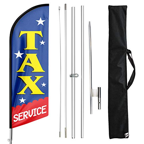 FSFLAG Swooper Flag and Pole Kit - Open Flags for Businesses -11 Ft Feather Flag for Tax Service- Advertising Feather Banners Signs with Flag Pole Kit and Ground Stake
