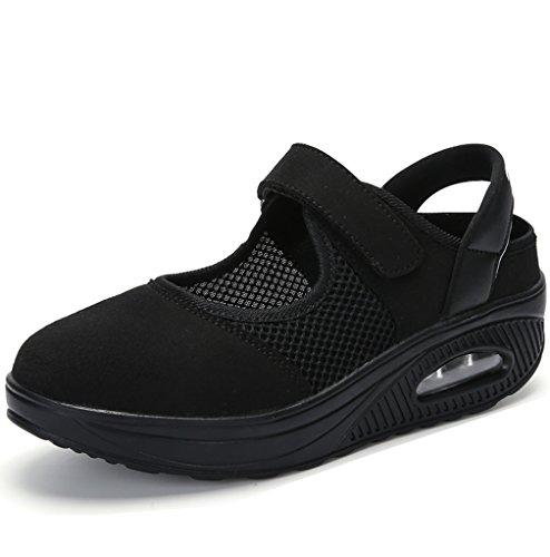 Solshine Damskie lekkie buty na platformie, sportowe buty rekreacyjne, zapięcie na rzepy, buty do chodzenia Shape Ups, - czarny 1 - 39 eu