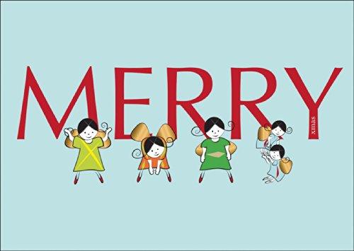 Kartenkaufrausch Grappige kerstkaart met envelop, cadeaukaart voor kerstfeest met engelen die de Xmas turnen op blauw: Merry Xmas • Directe verzending met hun tekst op inlegger • als kerstgroet