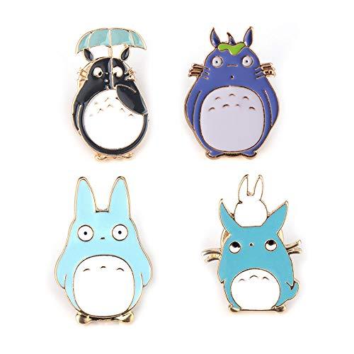 Enamel Pin Set Totoro Pin Vintage Anime Animal Pack Cute Cartoon Brooch Lapel Badge for Women Girls Kawaii, Clothing Bag Decor for Animal Lovers