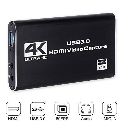 HDMI Game Capture, HDMI to USB 3.0, Full HD 1080P Live Video Capture Gard Recording Box, HDMI USB 3.0 Adapter Video and Audio Grabber for Windows, Mac OS and Linus System, Black