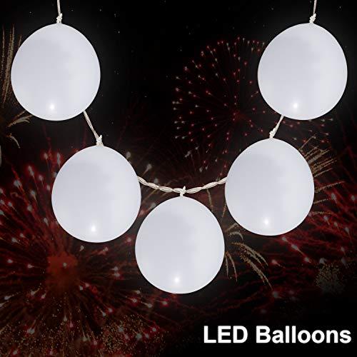 HONKID LED Luftballons Lichterkette, LED Leuchtende Luftballons Weiß, LED Luftballons Lichtband 3M Strip Lights mit 10 LEDs, Led Ballons für Party Geburtstag Feiertag Hochzeit Weihnachten Karneval