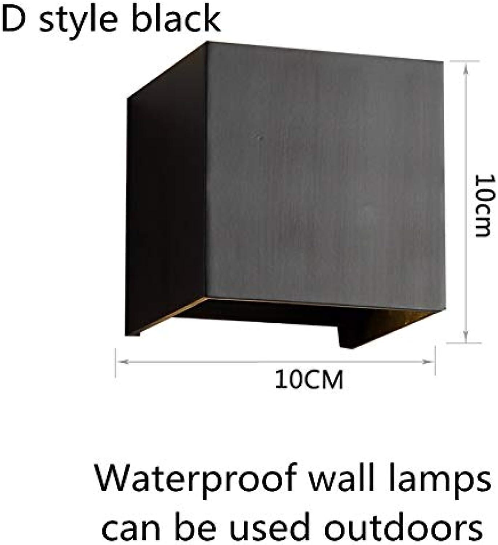 HNZZN Moderne einfache wandleuchte nordischen stil wandleuchte für wohnzimmer schlafzimmer wasserdichte auenwandleuchten, d stil schwarz, natur wei (3500-5500k)