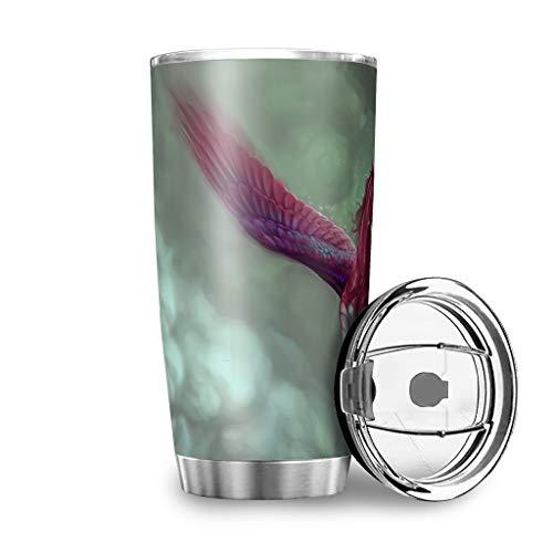 Dessionop Botella de agua con diseño de alas de Pegaso rojas, 20 onzas, a prueba de fugas, tapa blanca 600 ml