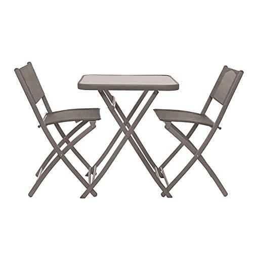 Set tavolo tortora con 2 sedie pieghevoli, in ferro e textilene Tortora