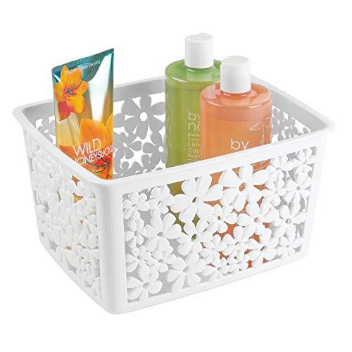 mDesign Organizer Bagno in plastica – Piccolo Cosmetic Box – Ideale Cestino portaoggetti Bagno per Tenere in Ordine Trucchi, Shampoo e Cosmetici – Colore: Bianco