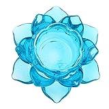 Azul FLAMEER Candelabros/Portavelas Forma Flor Loto de Cristal Suministro Budismo