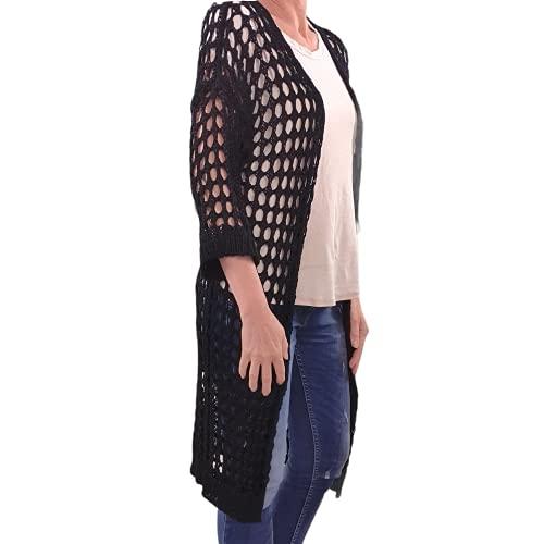 Italy Cardigan tendance en tricot perforé | Long cardigan pour l'été | Couverture à grosse maille., Noir , taille unique