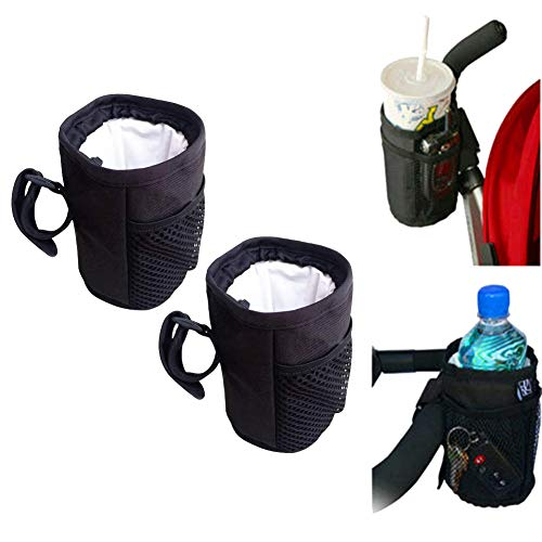 Wentsven 2 Pack Cup Holder for Stroller Wheelchair Walker Drink Bottle Holder for Horizontal Bar