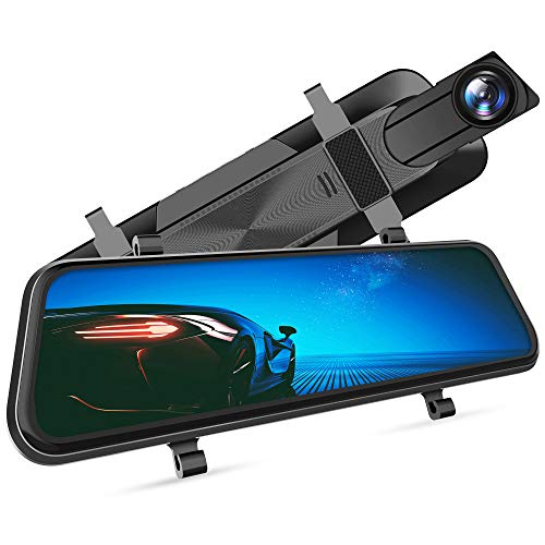 "VanTop H610 10"" 2.5K Mirror Dash Cam for Cars with Full Touch Screen, Waterproof Backup Camera Rear View Mirror Camera, Enhanced Night Vision with Sony Starvis Sensor, Parking Assistance"
