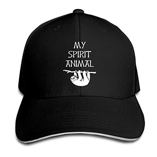 Men Women Sloth Spirit Animal Vintage Golf Baseball Cap Adjustable Fitted Dad Trucker Hat Black