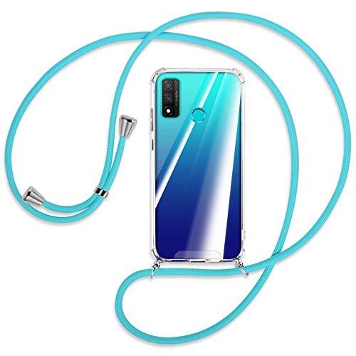 mtb more energy® Handykette kompatibel mit Huawei P Smart 2020 (6.21'') - türkis - Smartphone Hülle zum Umhängen - Anti Shock Strong TPU Case