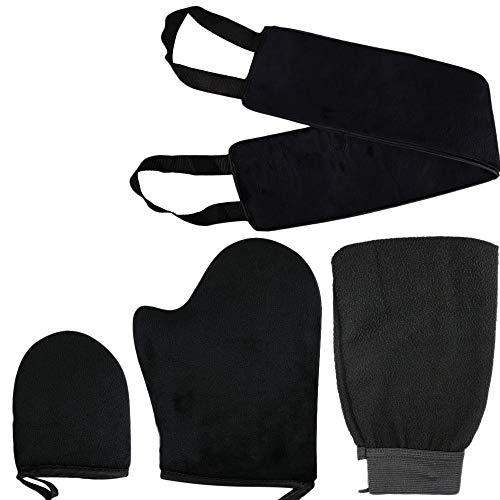 ACAMPTAR Conjunto de Aplicadores 4 en 1 de Manopla Autobronceadora CinturóN para Su Espalda Guante Exfoliante Dedo MitóN Aplicadores de LocióN para Lociones Mousses y Cremas