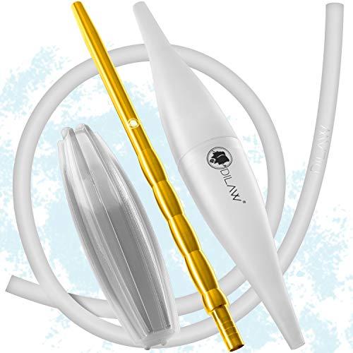 DILAW Shisha Ice Bazooka + Alu Mundstück + Silikonschlauch Set Kombinierbar mit Allen Handelsüblichen Schläuchen Weiss/Gold