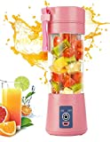 Portable Blender, Personal Mini Travel Electric Smoothie Blender Maker Fruit Juicer Cup, with 13oz Bottles, 6 Blades and USB Rechargeable Batteries for juice shakes and smoothies (Pink)
