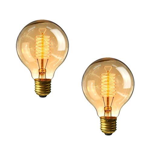 Ampoule à vis Edison G80 60w - Paquet de 2 ampoules E27 à vis dimmable Vintage, ampoules à filament spiral décoratives, blanc chaud tiède 2700K