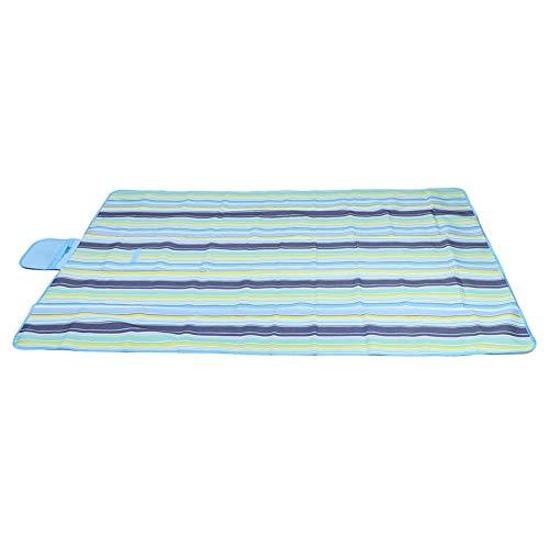 Tapis de Pique-Nique à Rayures Bleu Clair Tapis de Pique-Nique Portable Tissu Oxford Housse de Sol de Camping en Plein air étanche à l