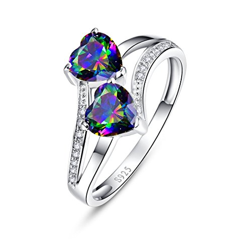 Merthus 925 Sterling Silver Band Created Mystic Rinbow Topaz Double Heart Promise Ring for Women