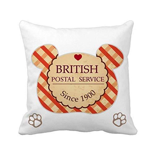 Funda cuadrada con diseño de oso británico de Londres, con sello británico