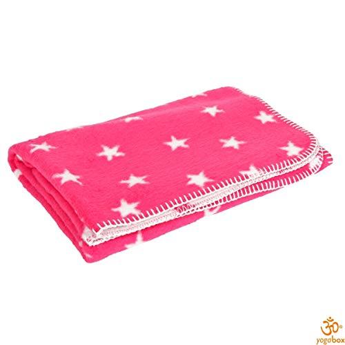 Yogilino Babydecke 75 x 100 cm Made in Germany, pink mit weißen Sternen