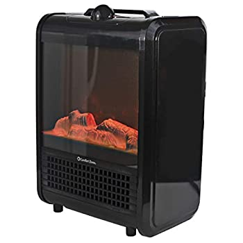 Comfort Zone CZFP1 Portable Fireplace Heater - Electric Freestanding Faux Fire Heaters - Realistic 3D Flame Effect with Ember Bed - Fan-Forced Heating Element 2 Settings Fan-Only Function - Black