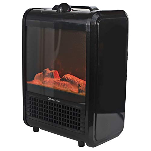 Comfort Zone CZFP1 Portable Fireplace Heater - Electric Freestanding Faux Fire Heaters - Realistic 3D Flame Effect with Ember Bed - Fan-Forced Heating Element, 2 Settings, Fan-Only Function - Black