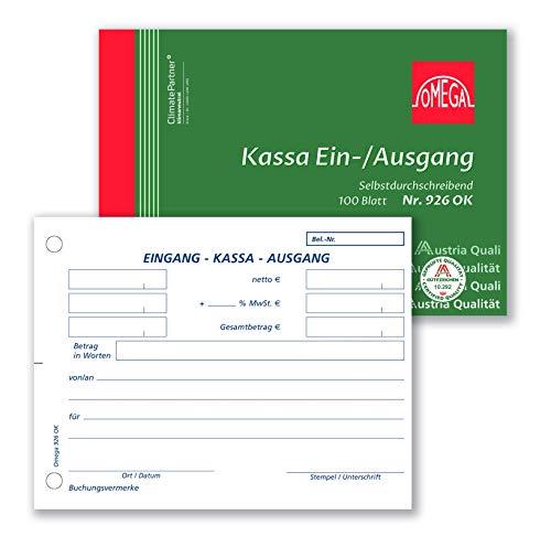 Omega Druck Kassaein-/ausgangsbuch SD A6/quer 1 x 100 Blatt Papierfolge, weiß
