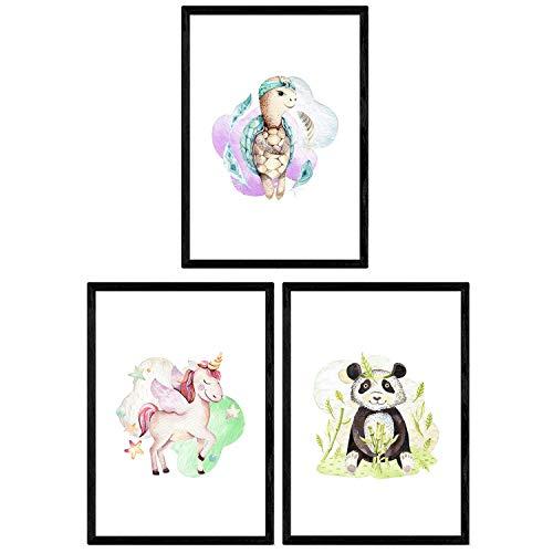 Pak van drie vellen met afbeeldingen van dieren. Poster met kinderfoto's van kinderen. Panda Eenhoorn en schildpad. A3-formaat zonder lijst