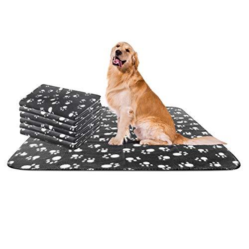 Nobleza - Morbida Coperta in Pile per Cani e Gatti. Confezione da 6 Pezzi, Color Nero, Misure 120 * 100 cm