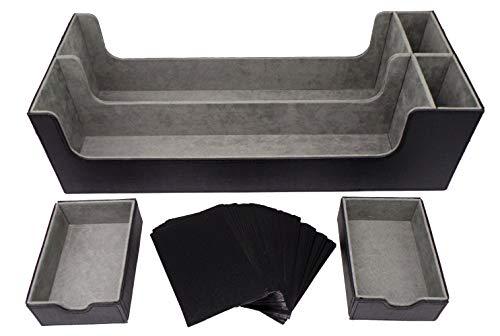 docsmagic.de Premium 2-Row Trading Card Storage Box Black + Trays & Divider - MTG PKM YGO - Sammelkarten Aufbewahrungsbox Schwarz