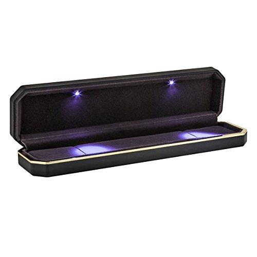 HOUSWEETY Halskette/Armband/Armbanduhr Geschenk-Box, Schmuck Präsentation Display Case mit LED-Licht Multicolor, schwarz