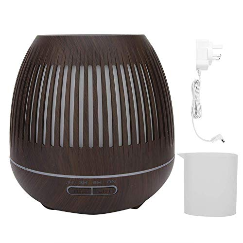 Allamp Humidificador de aroma, 110-240V 400 ml Mini humidificador de grano de madera oscura Holidificador de aroma luminoso hueco Humidificador de aire para la oficina en casa Club de yoga Spa (enchuf