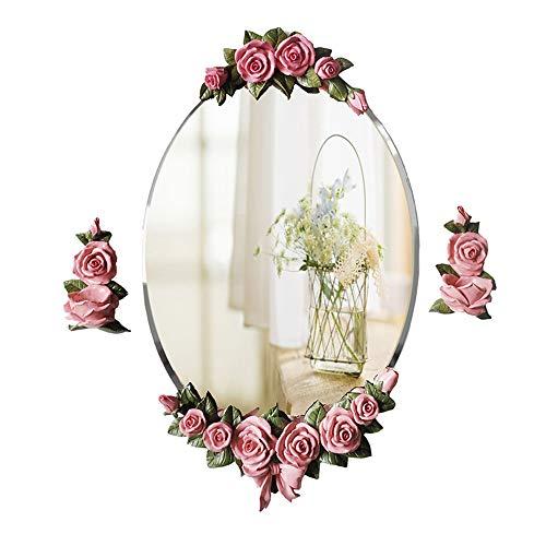 JYXJJKK Espejo Rosa Flor Impermeable Espejo Ovalado baño de Plata esterlina Espejo Tocador Pared de Estilo Europeo Que cuelga de baño Espejo Rural