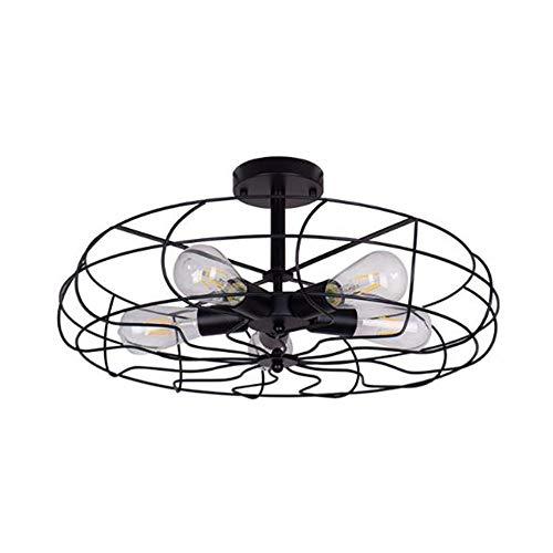 Keesai HomeDeco industriële retro vintage hanglamp kroonluchter, zwarte ronde metalen hanglamp voor eettafel, E27 5-pits hanglamp plafondlamp voor eetkamer, slaapkamer en woonkamer