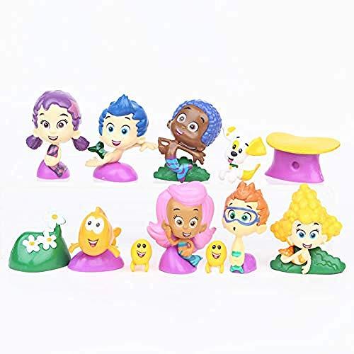 Cosstob WSQT 12 unids/Set Bubble Guppies Cute Bubble Puppy Goby Deema Gil Oona Paisaje subacuático PVC Figura de acción Juguetes Regalo para niños