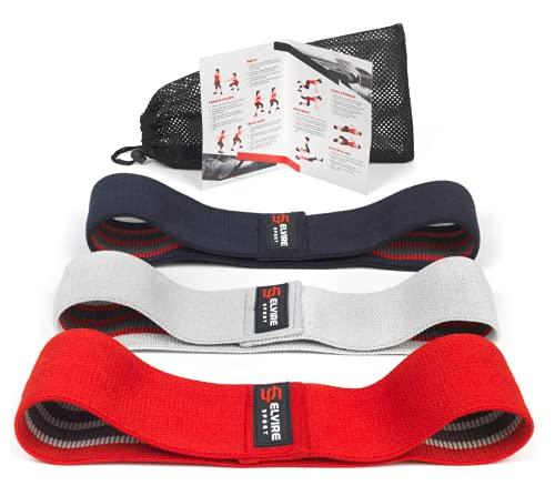 ELVIRE SPORT Bandas Elasticas Musculacion (Set de 3): Bandas de Resistencia de Tela para Fitness y Glúteos, Caderas, Piernas | Gomas para Yoga, Pilates, Crossfit, Fisioterapia | Hombres y Mujeres