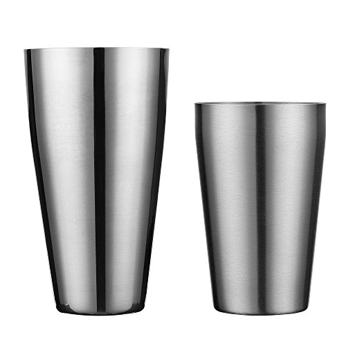 Boston Shaker by QLL, Professional Stainless Steel Cocktail Shaker Set, including 20oz Unweighted & 28oz Weighted Shaker Tins