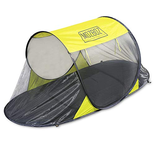 MozBoz One Person Pop Up Mosquito Tent - Free-Standing Bug, Insect Net for Camping, Beach, Hiking - Foldable, Breathable, Compact Mesh Pod - Heavy-Duty Tarp Floor; Storage Bag