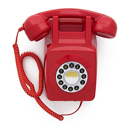 GPO 746 Teléfono fijo retro de pared con botones - Cable en espiral, timbre auténtico - Rojo